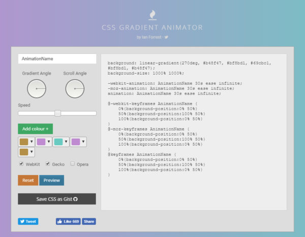 CSS Gradient Animator Preview